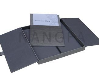 gray gatefold silk invitation box
