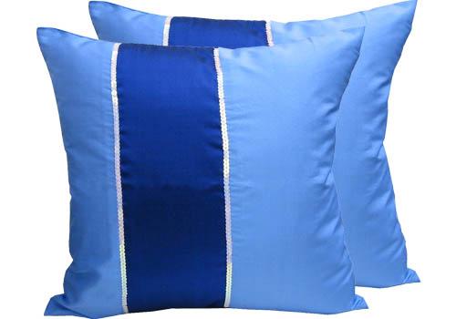Royal blue Thai silk cushion cover