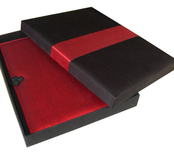 Black and red silk box for gift and wedding invites