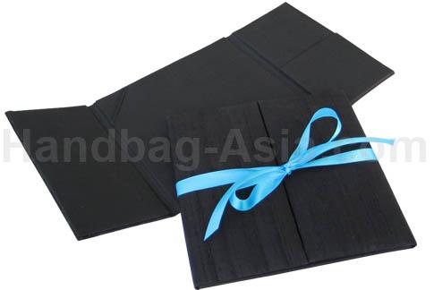 dupioni silk wedding invitation folder with bow