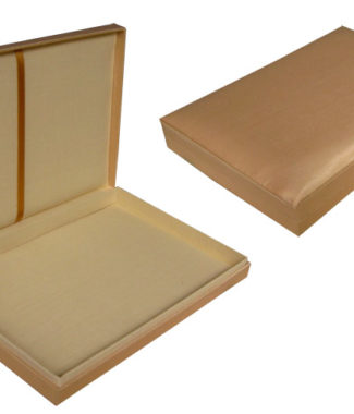 champagne color silk wedding box with hinged lid