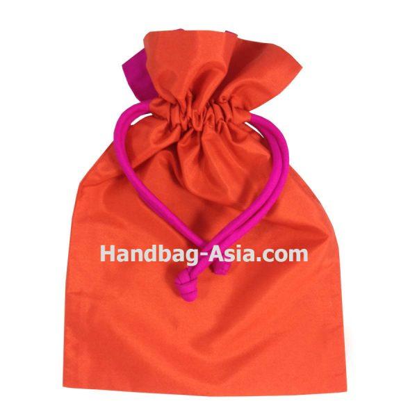 orange Thai silk drawstring bag