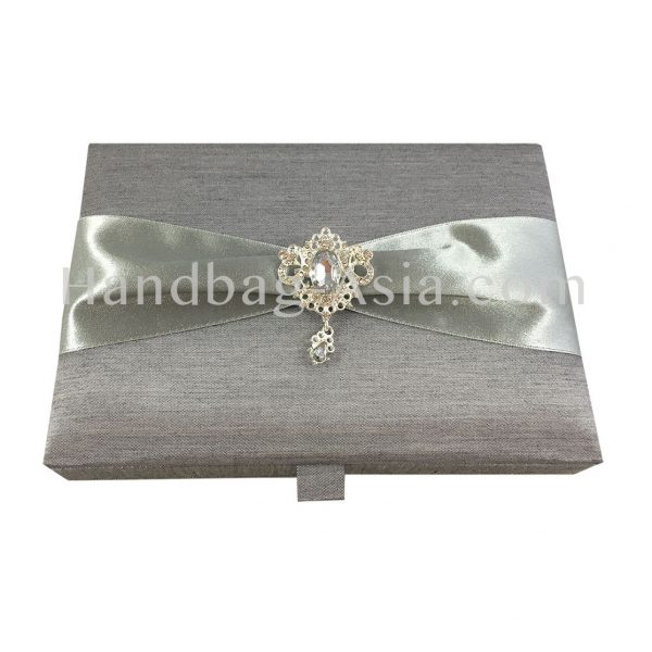 Silver wedding box with crystal hanger