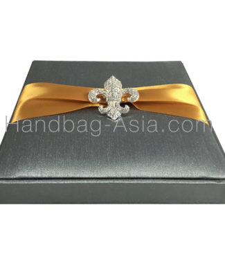 fleur de lis brooch embellished wedding box, grey and gold