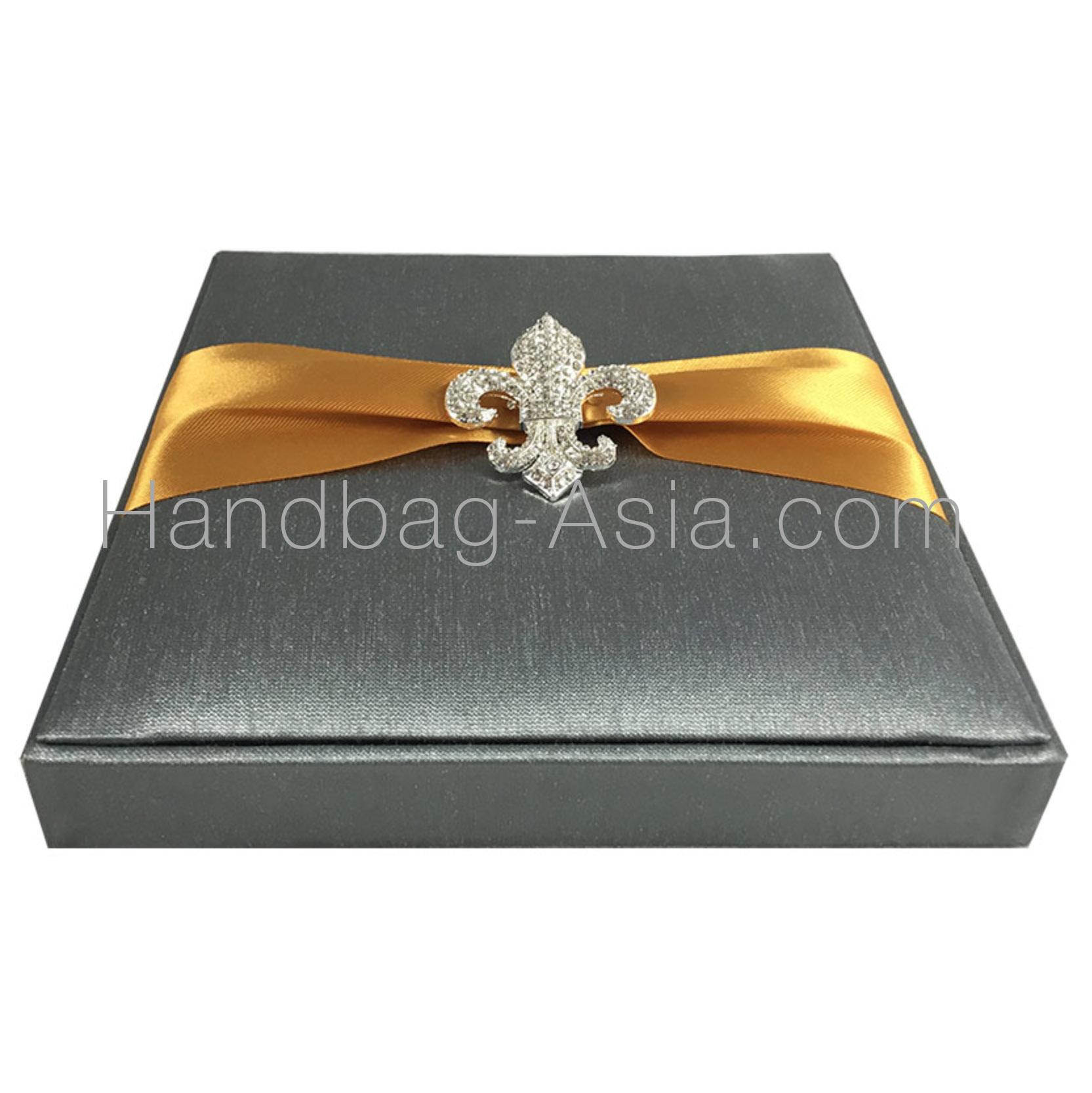 Fleur de lis wedding invitation charcoal dupioni silk large fleur de lis brooch embellished wedding box grey and gold monicamarmolfo Image collections