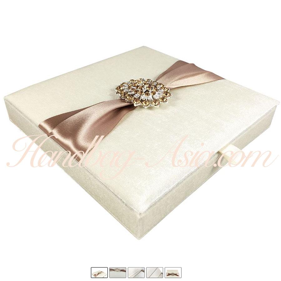 Velvet Covered Ivory Invitation Box & Golden Brooch Embellishment ...