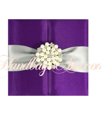 purple pearl brooch embellished wedding folder