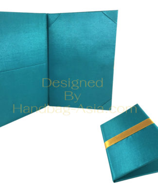 Teal color book folder with silk