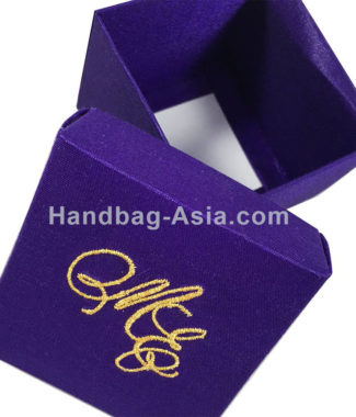 Embroidered silk favor box