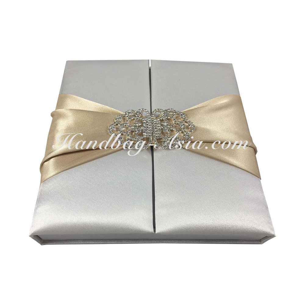 Luxury Style Off-White Silk Boxed Wedding Invitation With Satin Silk ...