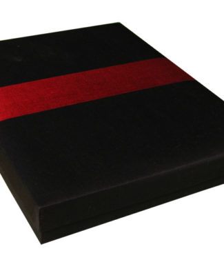 Black Thai silk gift box with red stripe