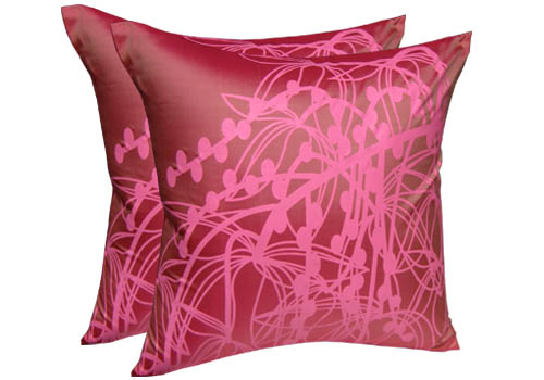 Pink silk screen cushion cover