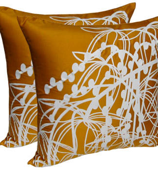 Golden silk screen cushion cover