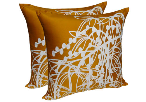 Golden silk screen cushion cover