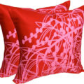 red silk cushion cover with pink silk screen