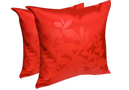 red silk cushion cover