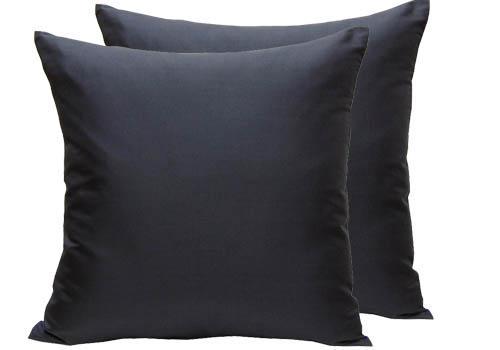 Handmade black Thai silk cushion cover with zipper closure