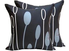 black printed silk cushion cover