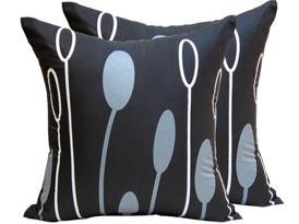 black printed silk cushion cover
