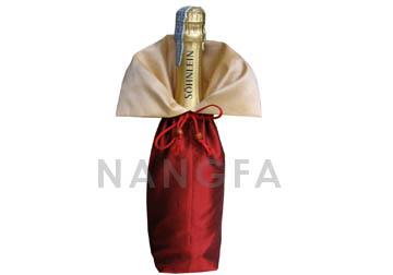 Luxury Red Champagne Thai Silk Wine Bottle Bag