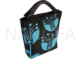 black silk handbag with wooden handle and flower print