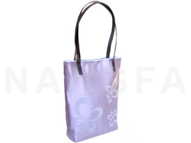 orchid Thai silk bag with leather handle