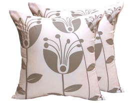 ivory silk cushion with grey print