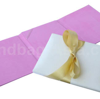 three fold silk wedding invitation card holder in pink