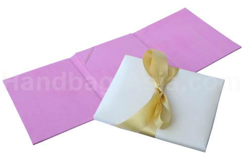 three fold silk wedding invitation card holder in pink
