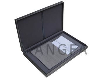 grey silk invitation box with hinged lid