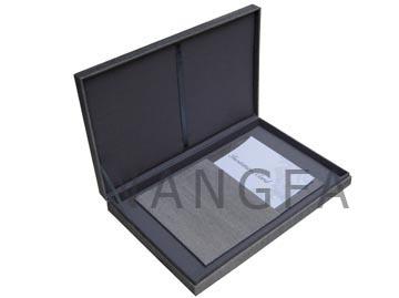 grey silk invitation box with hinged lid