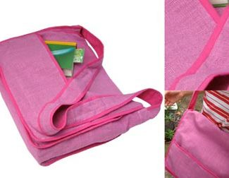 pink hemp messenger bag