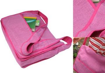 pink hemp messenger bag