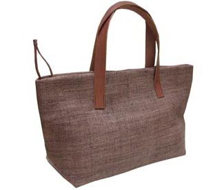 brown hemp bag with leather handle