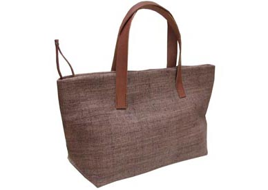 brown hemp bag with leather handle