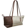 Hemp bag with shoulder leather handles