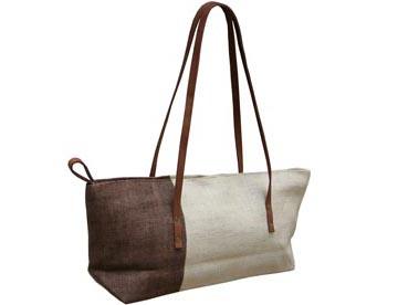 Hemp bag with shoulder leather handles