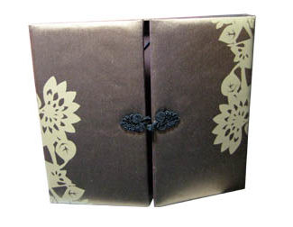 printed brown silk invitation box
