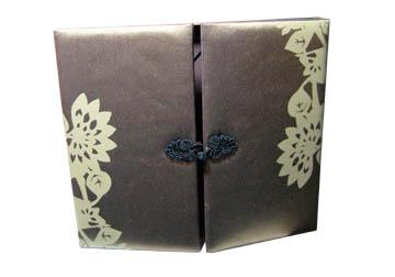 printed brown silk invitation box