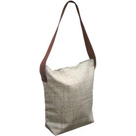 hemp shoulder bag with leather strap