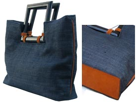 navy blue hemp bag with wooden handle