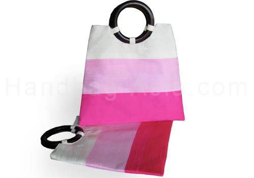 Thai silk handbag with round wooden handle
