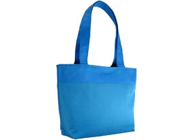 medium sized blue silk bag with handle