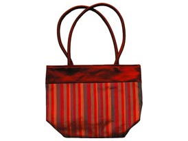 red striped silk handbag
