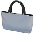 grey thai silk bag with wooden handle