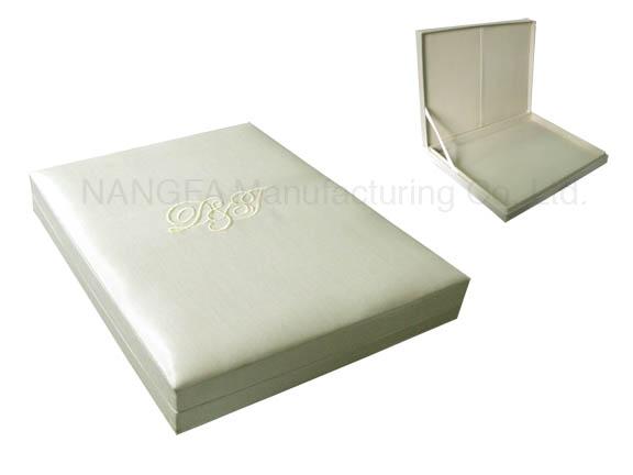ivory monogram embroidered silk wedding box