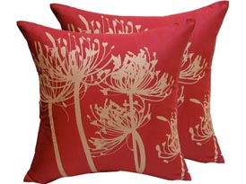 Screen Print Silk Cushion Cover In Red & Gold