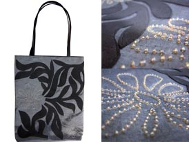 handmade beaded silver silk handbag with shoulder leather handles