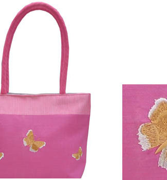Embroidered silk handbag in pink with butterfly embroidery