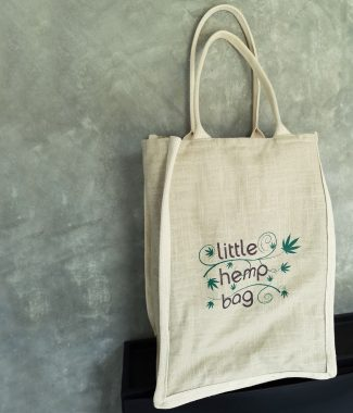 Large logo printed hemp shopping tote bag from Thailand